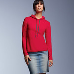 Ladies' Lightweight Long-Sleeve Cotton Hooded Tee