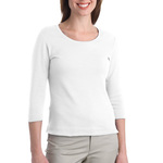 Ladies Modern Stretch Cotton 3/4 Sleeve Scoop Neck Shirt