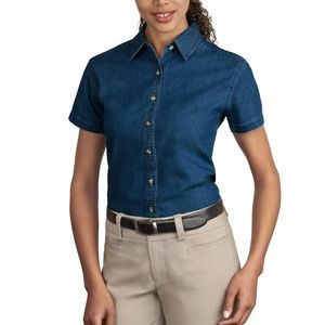 Ladies Short Sleeve Value Denim Shirt Thumbnail